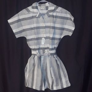 ** Chandni Romper w Elastic waistband Gray & white
